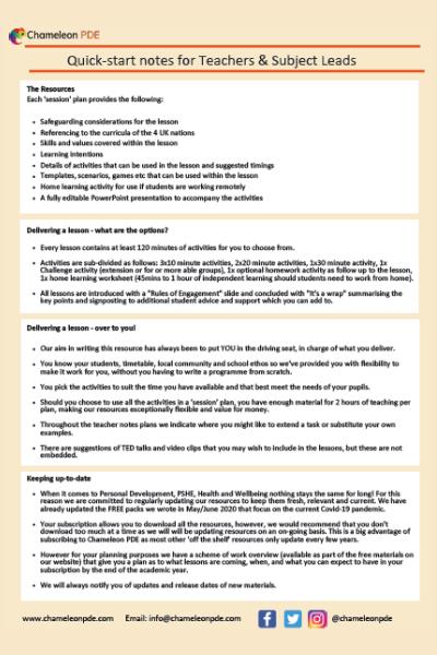 Guidance document: Quickstart teacher notes